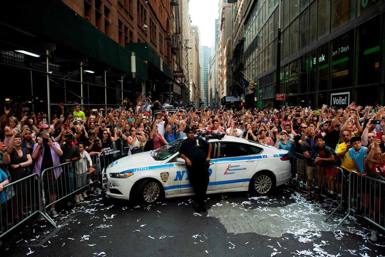 Hele blokken van Manhattan waren afgesloten voor het feestje van het vrouwenteam. Beeld AFP