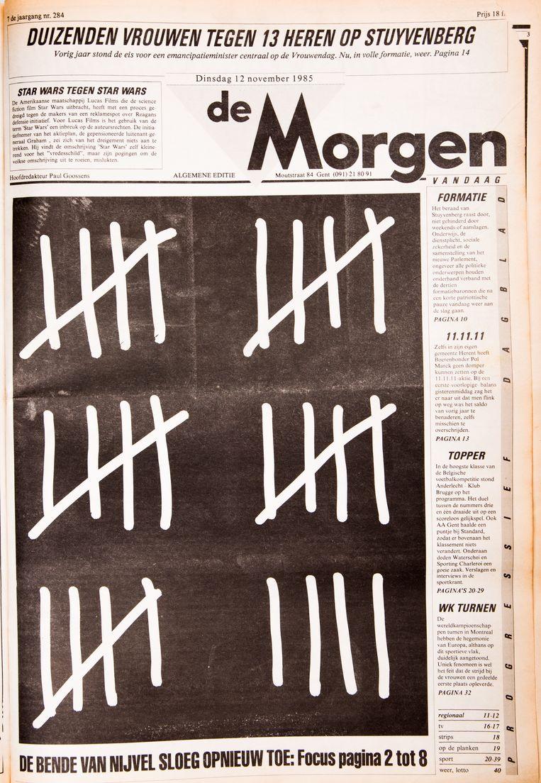 Dit was de eerste full page-cover die De Morgen ooit maakte, naar aanleiding van de raid van de Bende van Nijvel in Aalst. Beeld Studio DM
