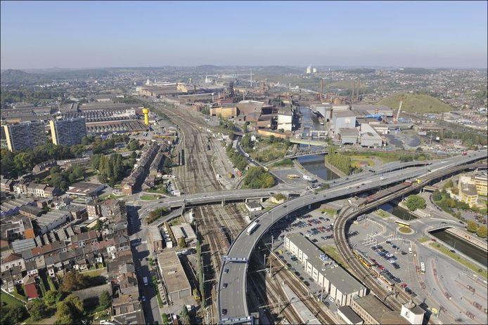Vue aérienne de Marcinelle (Charleroi)