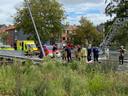 De hulpdiensten kwamen massaal ter plaatse na het ongeval langs de Bevrijdingslaan.