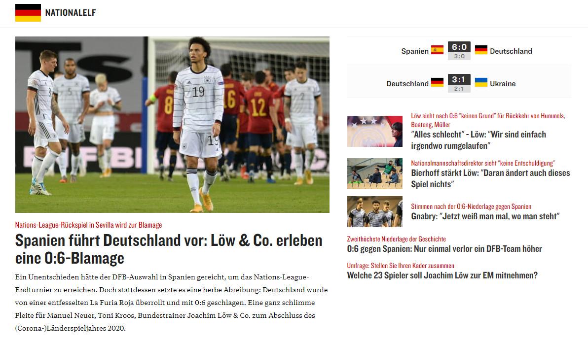 """""""Löw en co beleven een 6-0-blamage"""", aldus Kicker."""