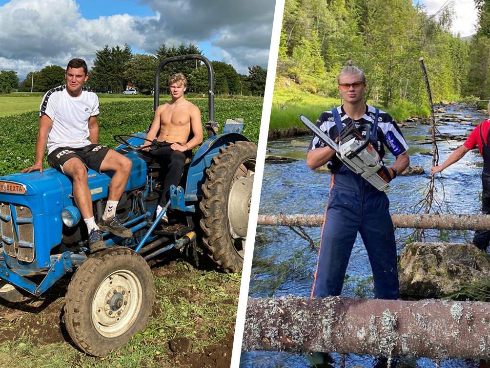 Haaland op de tractor en met een kettingzaag.