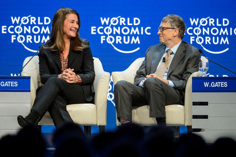 Melinda en Bill Gates, op het Wereld Economisch Forum in 2015. Beeld AFP
