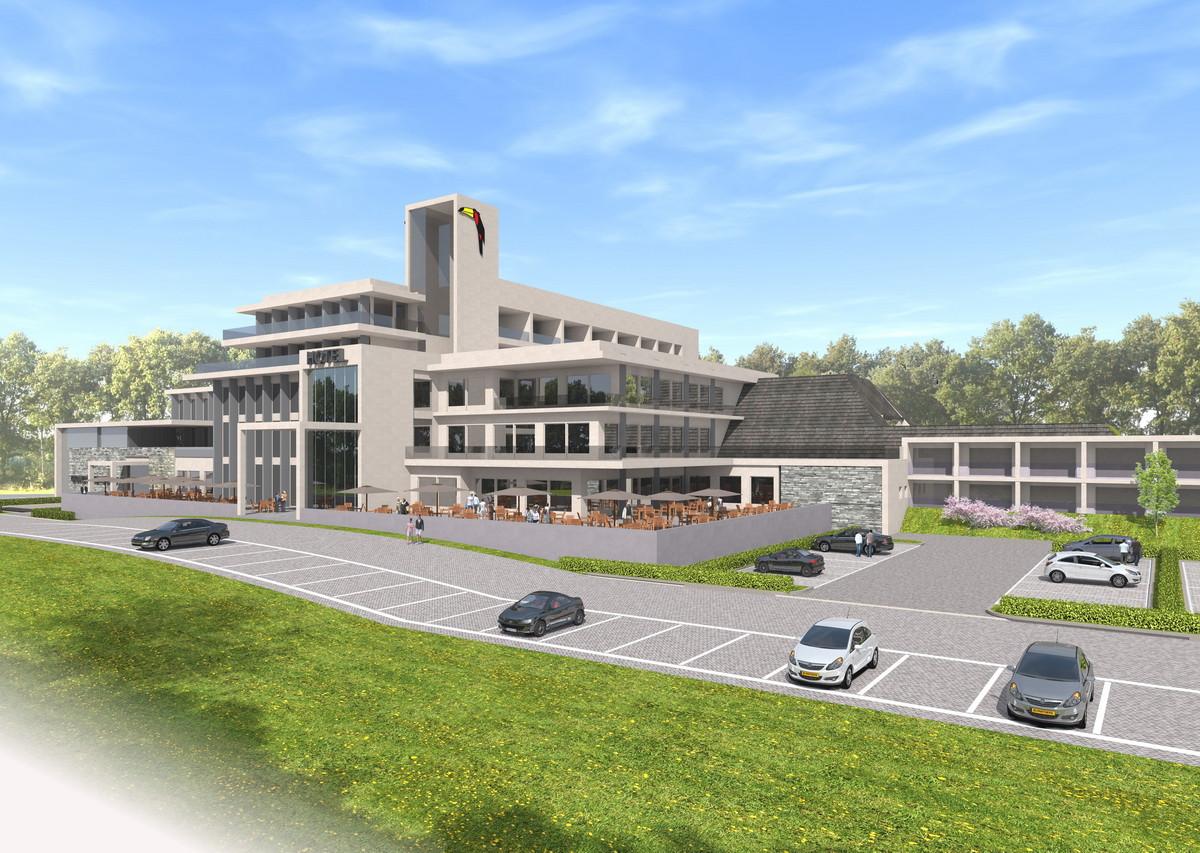 De nieuwbouw met links de nieuwe en rechts de oude hoofdingang.
