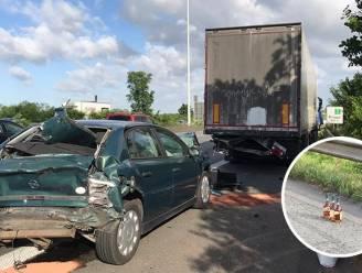 Whiskeywalm boven E40 na ongeval met vrachtwagen vol drank