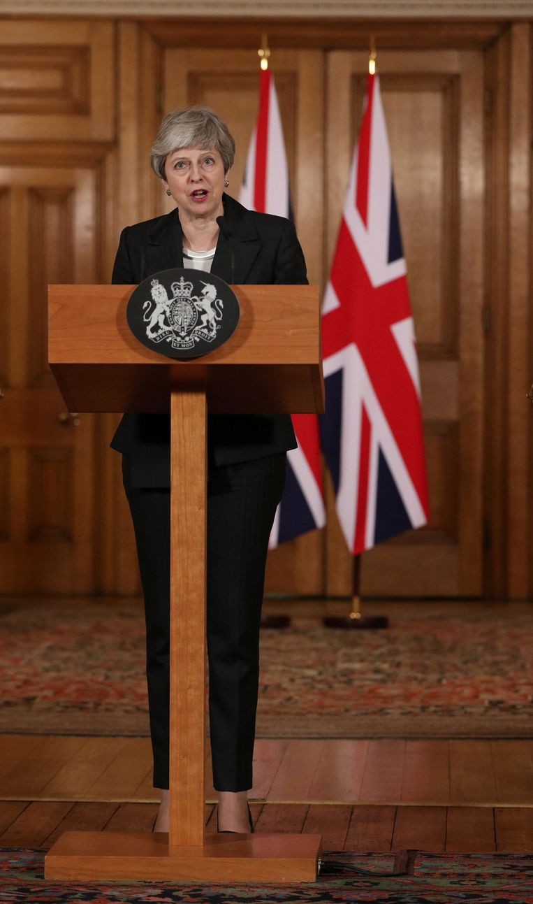 Britain's Prime Minister Theresa May makes a statement about Brexit in Downing Street in London, Britain March 20, 2019. Jonathan Brady/Pool via REUTERS Beeld REUTERS