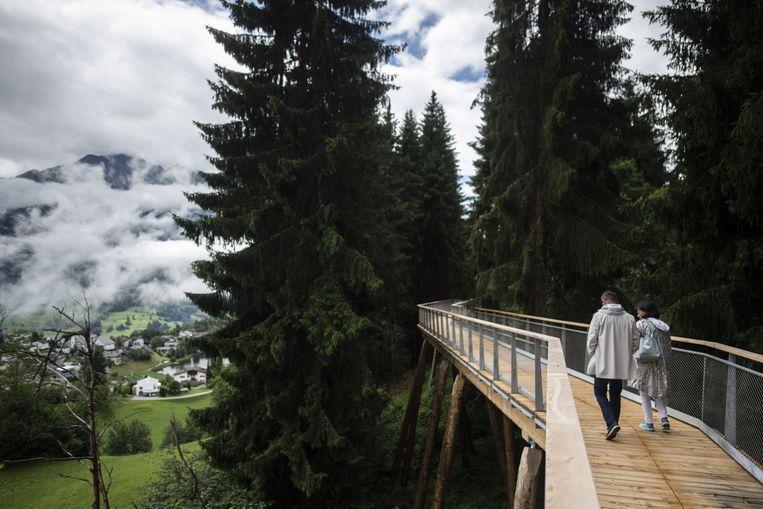 De langste boomwandeling ter wereld opent morgen in Laax, Zwitserland. 'In dat kleine land is er toch een aanzet om van kwaliteit, identiteit en vakmanschap een pijler van de economie te maken.' Beeld EPA