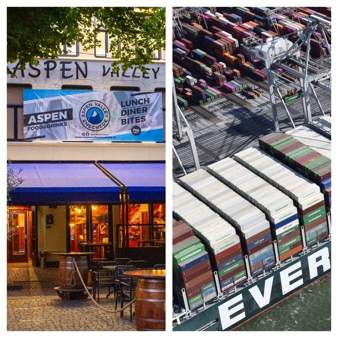 Links: Aspen Valley. Rechts: schip Ever Given.