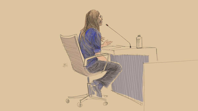 Sofie  Nys, de zus van Tine, getuigde vandaag op het assisenproces in Gent.  Beeld BELGA