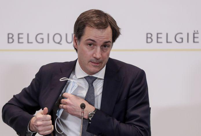 Premier Alexander De Croo (Open Vld) op de persconferentie.