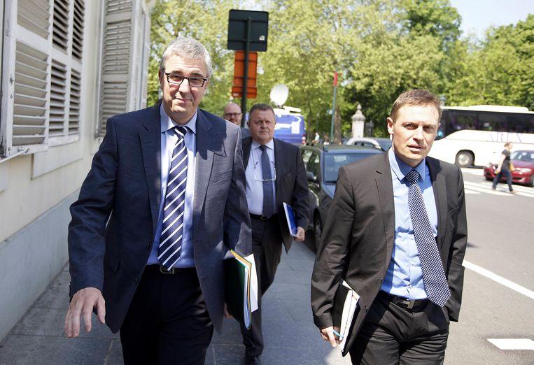 VBO-topman Pieter Timmermans en Unizo-baas Karel Van Eetvelt. Beeld BELGA