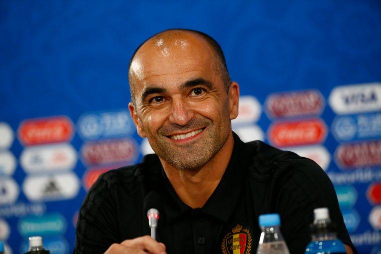 Roberto Martínez op de laatste persconferentie voor de match tegen Japan. Beeld Photo News