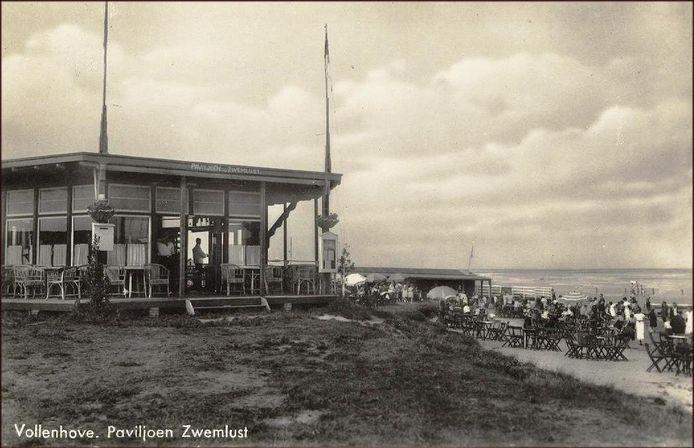 Paviljoen Zwemlust bij het toenmalige Zeebad Vollenhove, ver voor de inpoldering.