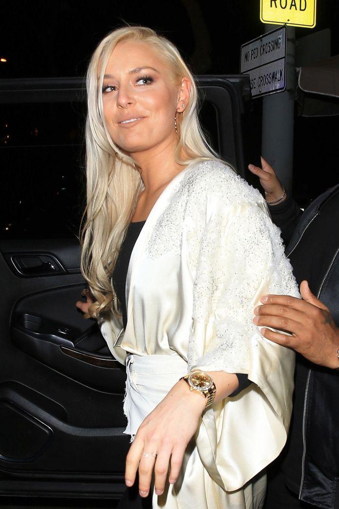 Lindsey Vonn woensdag bij het verlaten van een restaurant in West-Hollywood.