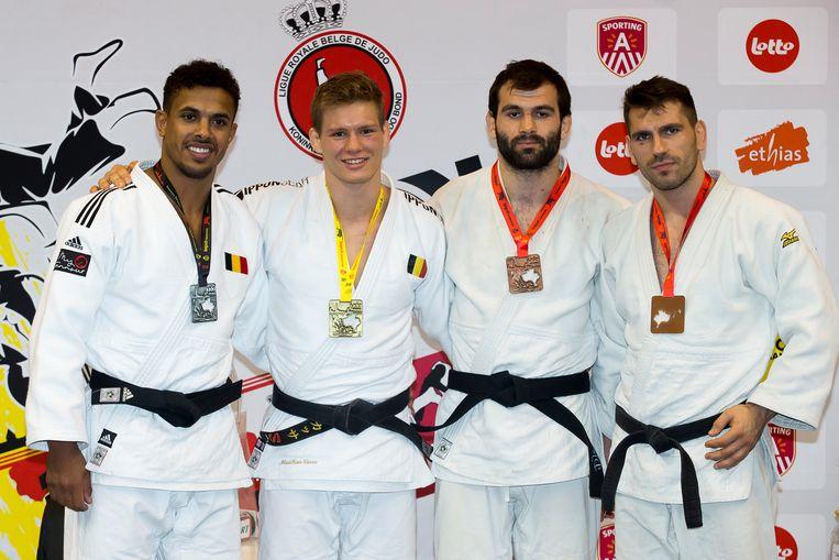 Het podium bij de -81 kg, met van l naar r: Sami Chouchi, Matthias Casse, Jeremie Bottieau en Osman Hanci.