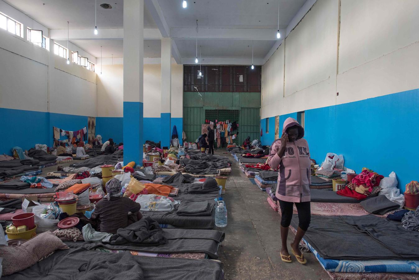 Vluchtelingen in een kamp in de Libische stad Zawiyah.