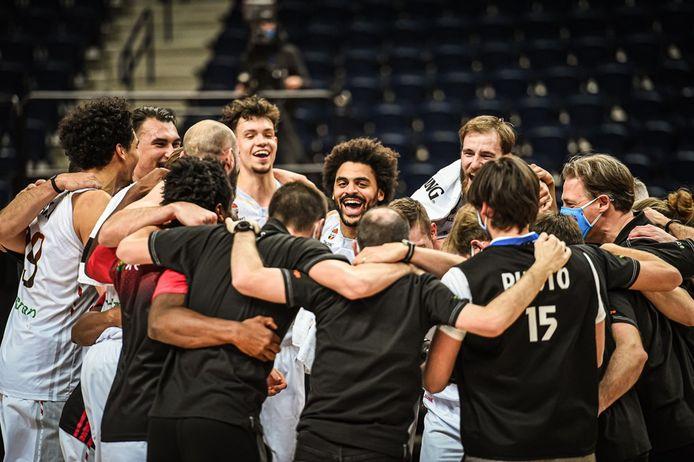 De Belgian Lions vieren de EK-kwalificatie afgelopen zaterdag.