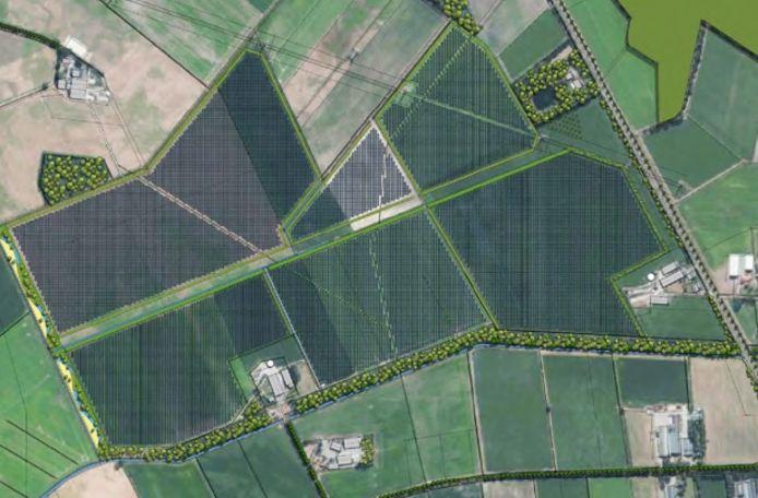 Het gebied waar het zonnepark moet komen. Helemaal onder de Ruilverkavelingsweg en rechts Randweg-Oost.