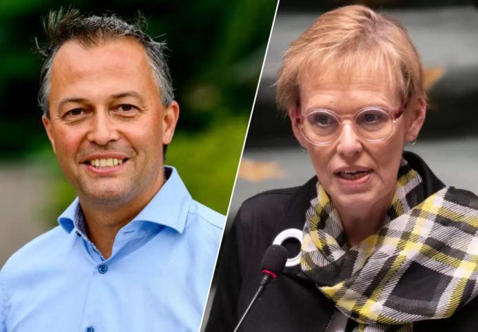 Links: Open Vld-voorzitter Egbert Lachaert. Rechts: minister van Pensioenen Karine Lalieux (PS).