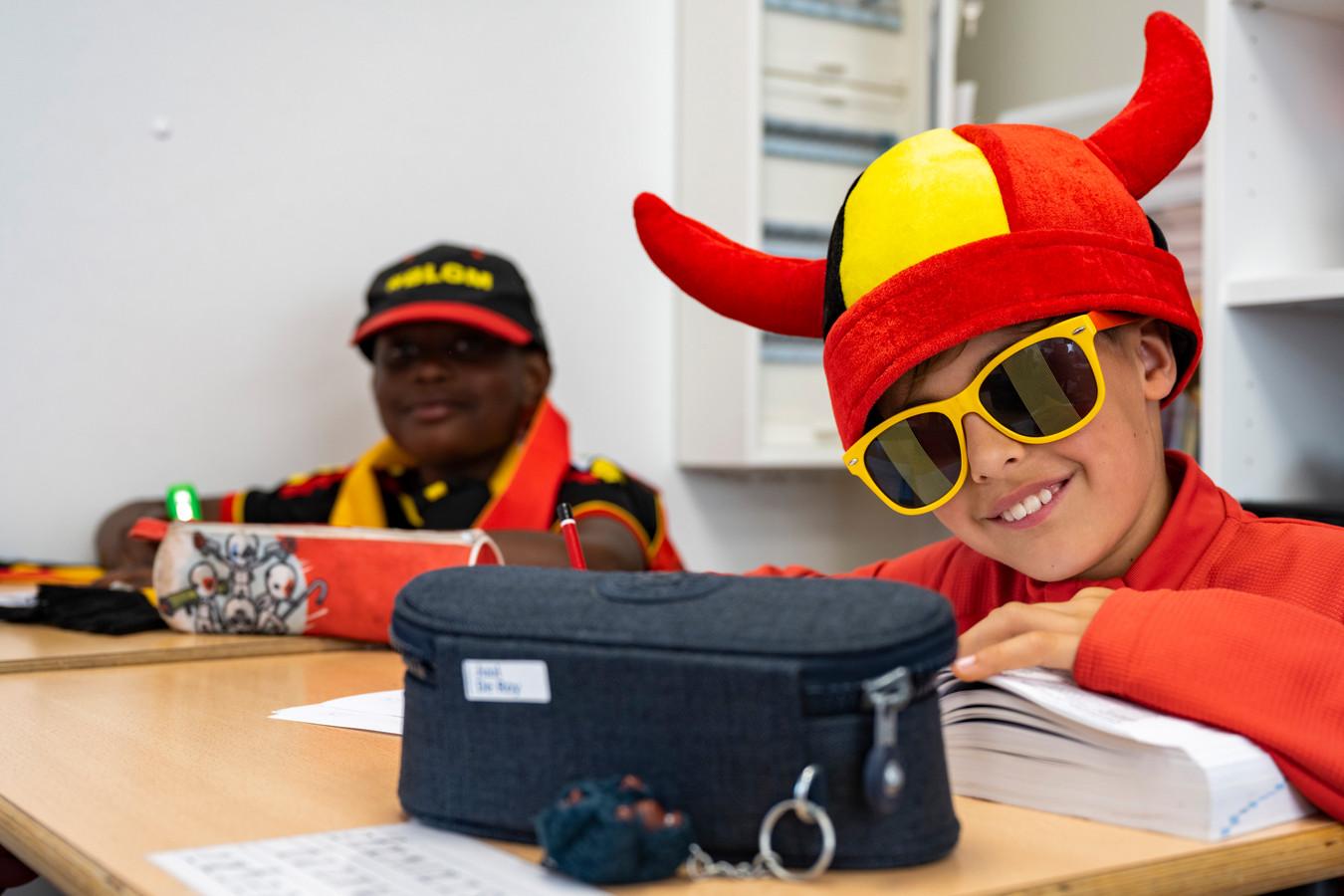 De les volgen kan evengoed als supporter van de Rode Duivels, zo vinden ze in het Vrije Basisschool Opstal
