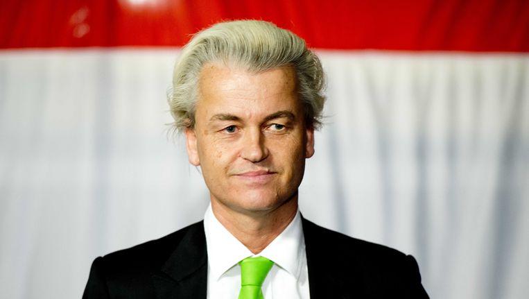 PVV-partijleider Geert Wilders op het podium tijdens de verkiezingsavond van zijn partij na de gemeenteraadsverkiezingen. Beeld ANP