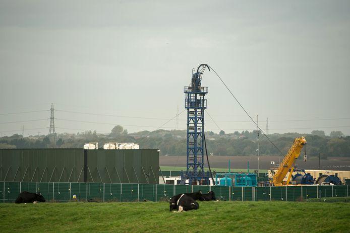 Een fracking-boorinstallatie van het bedrijf Cuadrilla in de buurt van Blackpool.