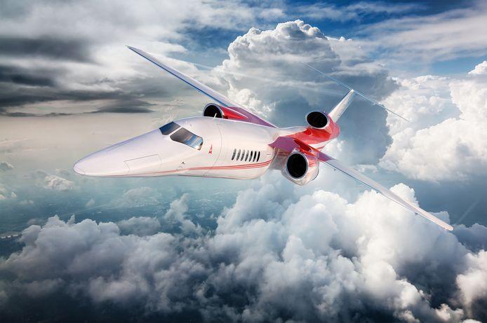 Promotiebeeld van het supersonische zakenvliegtuig 'Aerion AS2'.