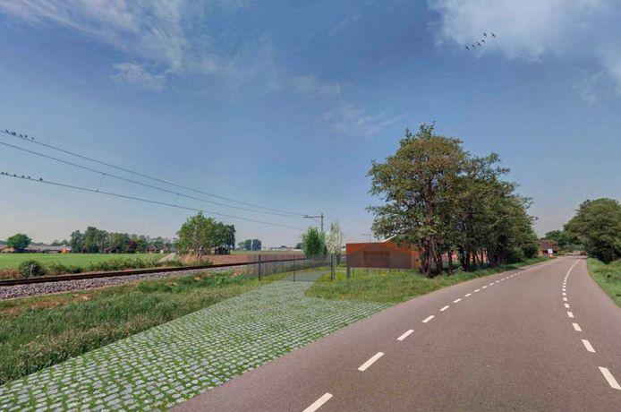 Ontwerp voor het onderstation in buitengebied van Lunteren, aan de Hessenweg.