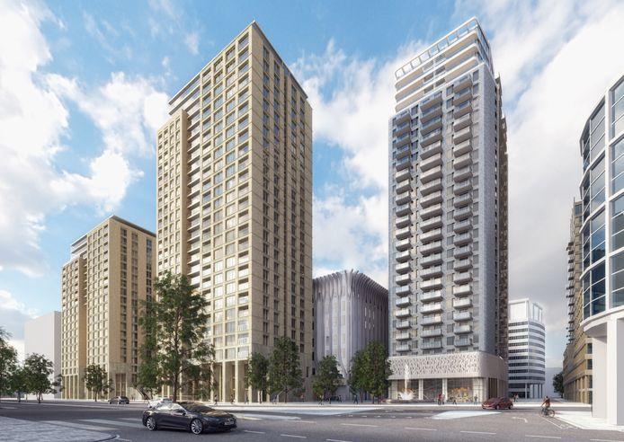 Een illustratie van de toekomstige woontorens rond het Spuiforum-in-aanbouw.