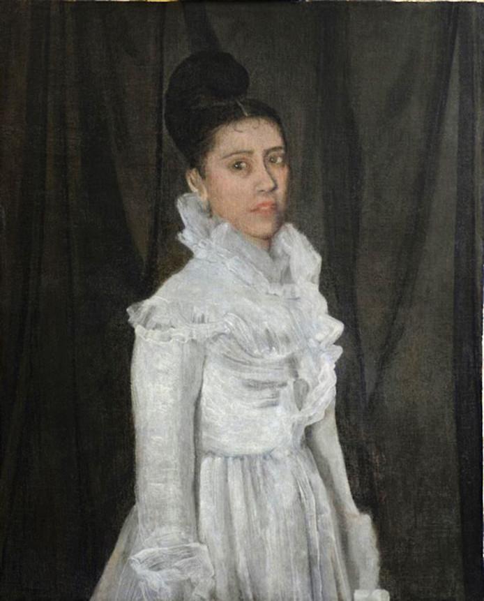 'Symphony in white. Van James McNeill Whistler (1834-1903). Ontdekt in depot van Singer Museum, Laren. Er was twijfel McNeill Whistler de schilder was. Na onderzoek bleek dit toch het geval. Ontdekking naar buiten gebracht in oktober 2015.