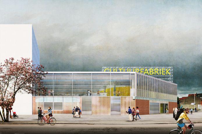 Een conceptbeeld van het voorontwerp van de nieuwe Cultuurfabriek in Izegem. Die zal in de voormalige gebouwen van drukkerij Strobbe onderdak vinden.