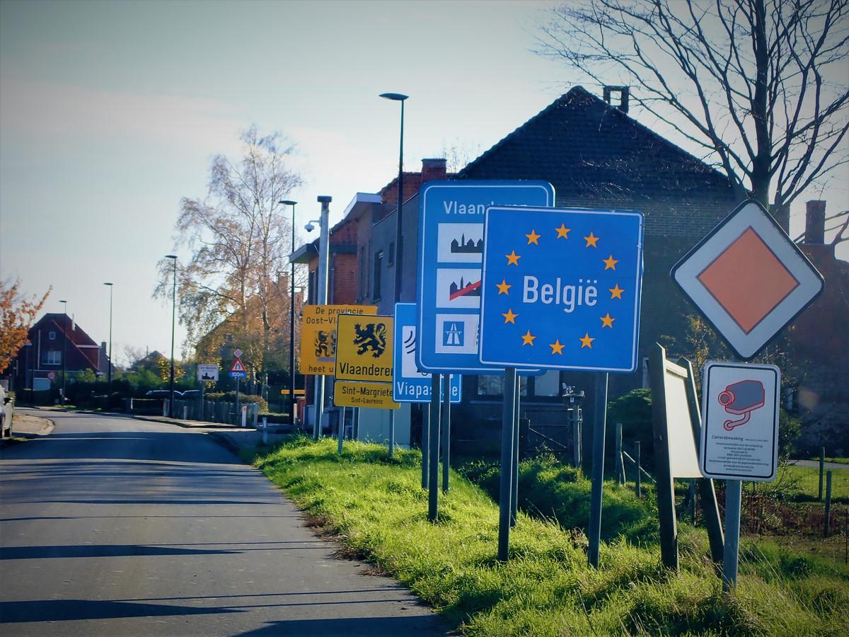Belgische grens in Zeeuws-Vlaanderen bij Sint Margriete,