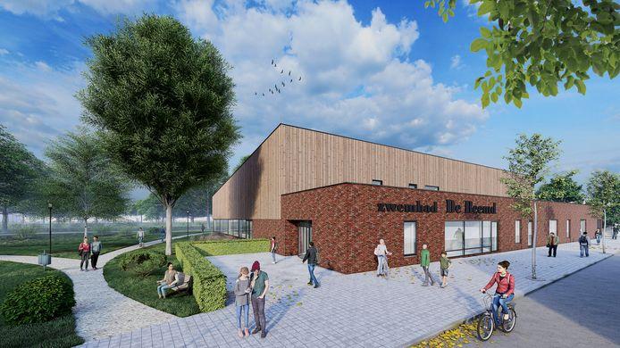 Impressie van het nieuwe zwembad in Veghel. Het directe gebied om het zwembad heen moet nog ontworpen worden, dit is enkel een sfeerimpressie.