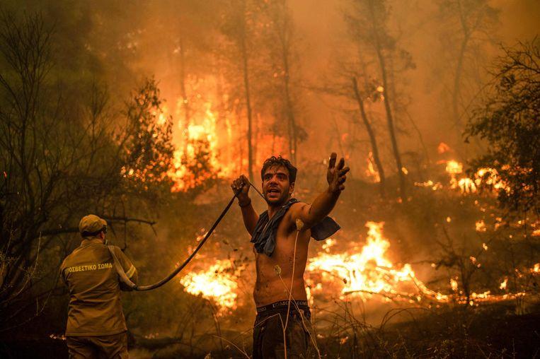 Een bewoner van het dorpje Pefki op het eiland Evia probeert de brand wanhopig mee te blussen.  Beeld AFP