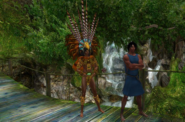 Rechts Bommerson in een Dorische tunica, met naast hem een vriend die op een jungle-eiland woont. Beeld Second Life