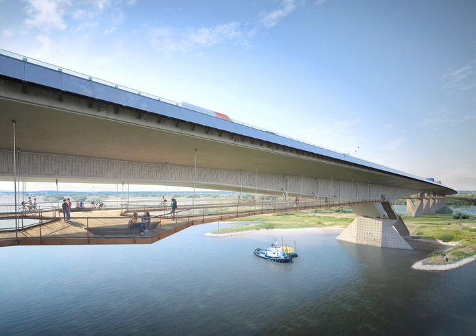 Een artist impression van de geplande brug van de A15 over het Pannerdensch Kanaal bij Loo. Onder de brug is plek voor fietsers en wandelaars.