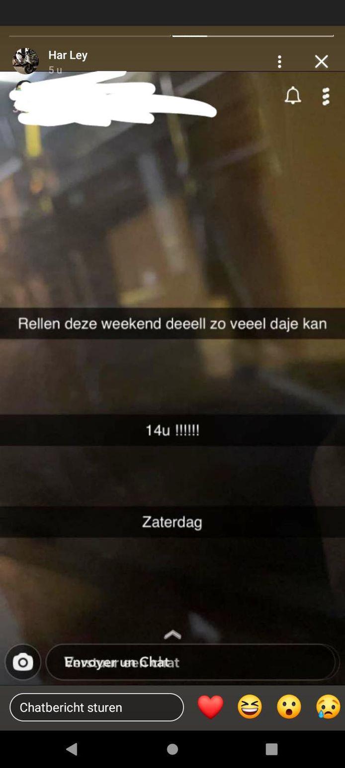 Een van de vele berichten op sociale media waarin wordt opgeroepen om zaterdag rel te schoppen in Kortrijk.