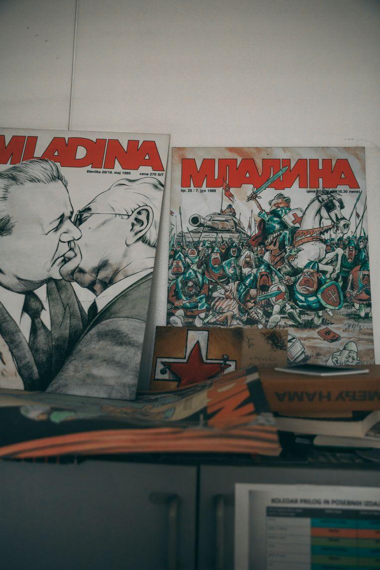 Covers van het onafhankelijke tijdschrift Mladina. Beeld Marlena Waldthausen