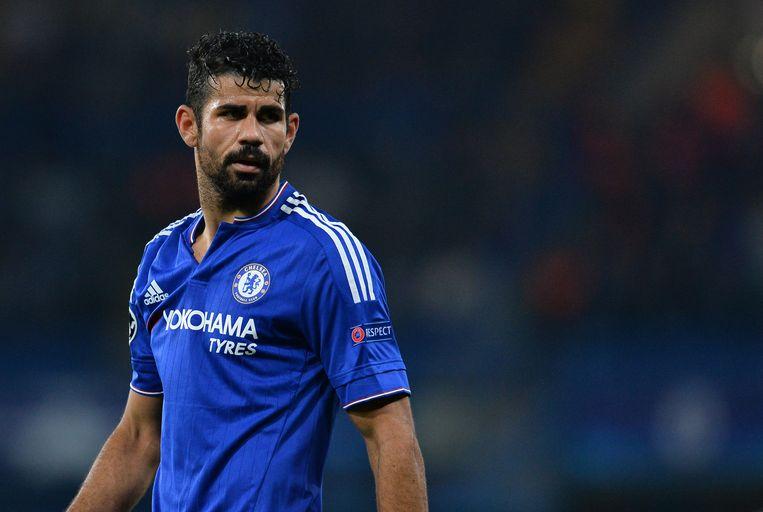 Diego Costa is de eerste keuze bij Atlético, de transfer van Batshuayi naar Chelsea kan de Madrilenen wellicht in de kaart spelen Beeld AFP