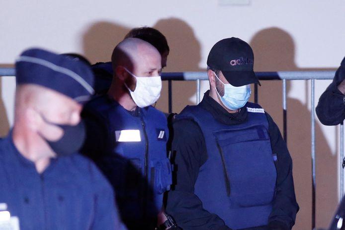 Nordahl Lelandais à la sortie de la première journée de son procès pour le meurtre d'Arthur Noyer devant la cour d'assises de la Savoie, à Chambéry le 3 mai 2021.