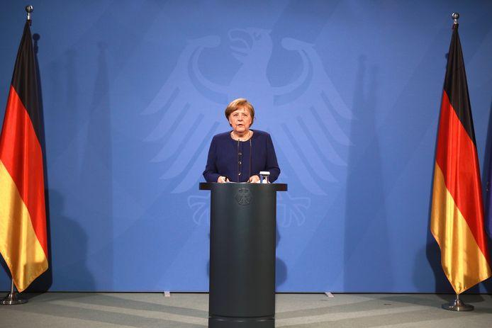 Duits bondskanselier Angela Merke na afloop van de top.