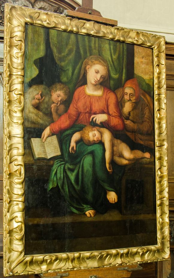Het oorspronkelijke schilderij in de schildersezel.