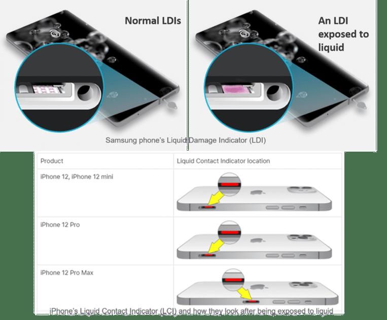 De meeste smartphones hebben een indicator om oppervlakkige waterschade op te meten. Beeld Samsung/Apple