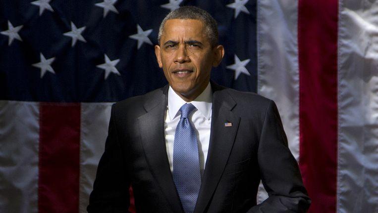 President Obama vlak voordat hij gaat speechen aan Georgetown University in Washington. Beeld AP
