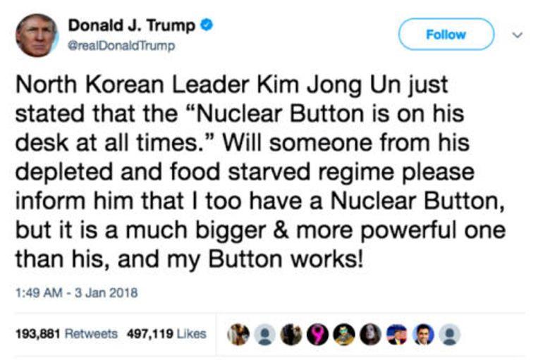 Tweet van 2 januari 2018 Beeld @realDonaldTrump