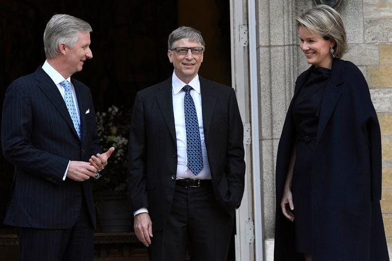 Begin 2017 ontvingen koning Filip en koningin Mathilde Bill Gates in audiëntie. Veel Belgische onderzoeken krijgen steun van Gates' stichting. Beeld Photo News