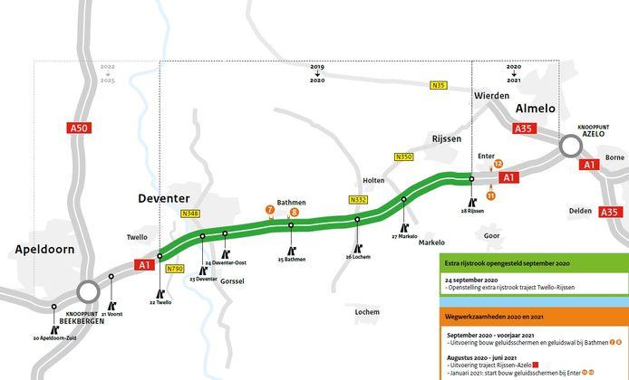 Overzicht van de werkzaamheden om A1 te verbreden: het groene stuk is nu - zo goed als - klaar.