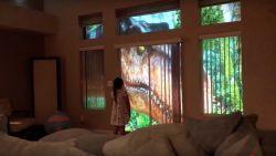 Vader verrast dochter met bijzondere projectie van voorbij wandelende dinosaurussen