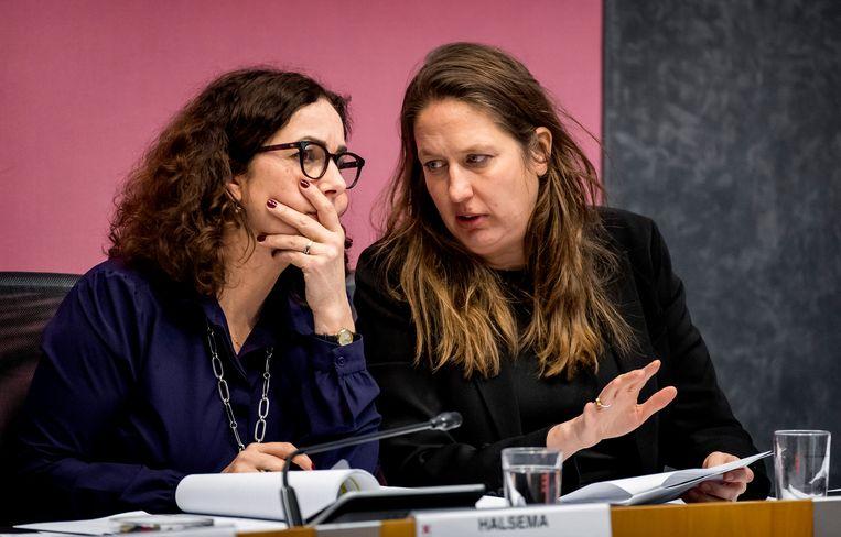 Burgemeester Femke Halsema en onderwijswethouder Marjolein Moorman. Beeld Hollandse Hoogte /  ANP