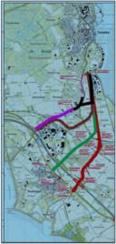 De vier onderzochte varianten voor de aanpak van de Zanddijk/Molendijk tussen de A58 en Yerseke